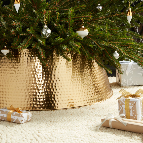 Burlap Tree Collar - Ivory Tiered Ruffles Tree Collar New Traditions